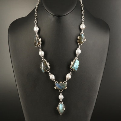 Sterling Labradorite and Pearl Necklace