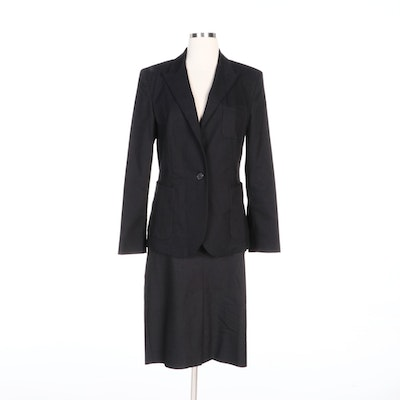 Borgofiori Skirt Suit in Charcoal Grey Cotton Blend Twill