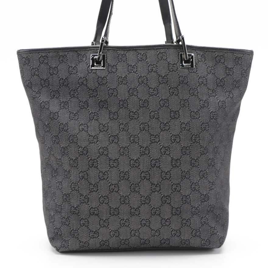 Gucci Tote Bag in Gray and Black GG Canvas with Leather Trim