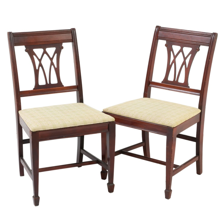 Hepplewhite Style Walnut Upholstered Side Chairs, Mid to Late 20th Century
