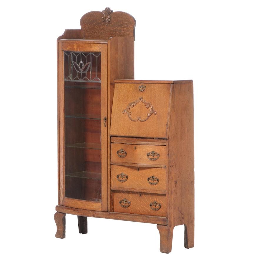 Late Victorian Oak and Leaded Glass Side-by-Side Secretary Bookcase, circa 1900