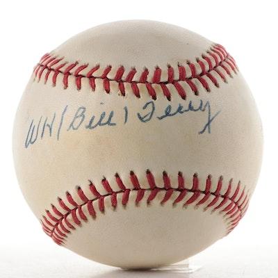 "William ""Bill ""Terry Signed Rawlings National League Baseball, JSA COA"