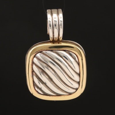 David Yurman Sterling Cable Locket Enhancer with 18K Accent