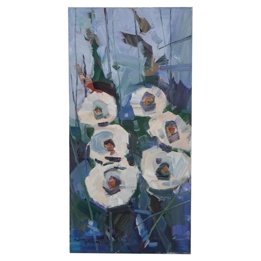 "Jose Trujillo Oil Painting ""Lovely Magnolias,"" 2021"