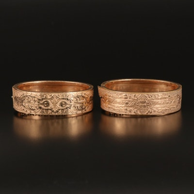 Mid-Victorian Engraved Wedding Bracelets with Taille d'Epargné