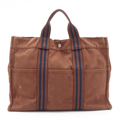 Hermès Fourre Tout MM Tote in Rust and Navy Cotton Canvas