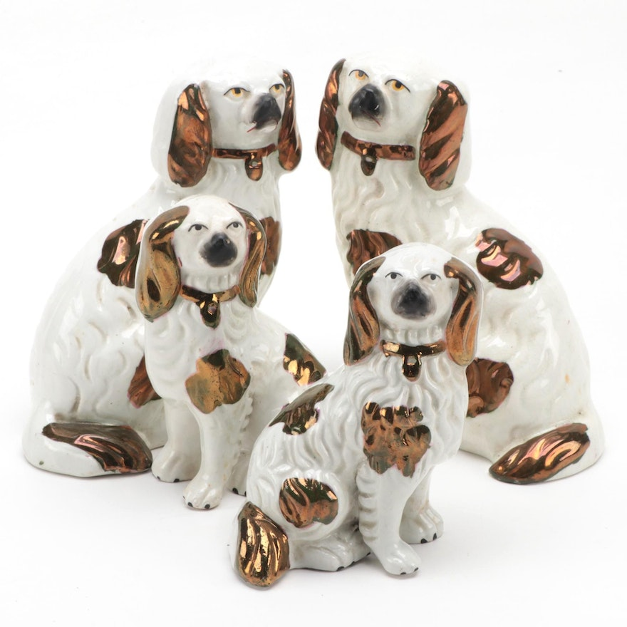 Staffordshire Copper Luster Spaniels, Late 19th/ Early 20th Century