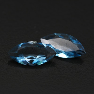 Loose 5.07 CTW Matched Pair of London Blue Topaz