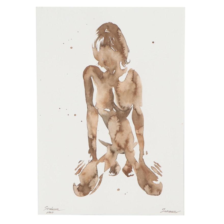 Anastasija Serdnova Watercolor Painting of Female Nude, 2020