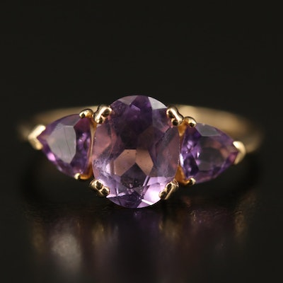 8K Amethyst Three Stone Ring
