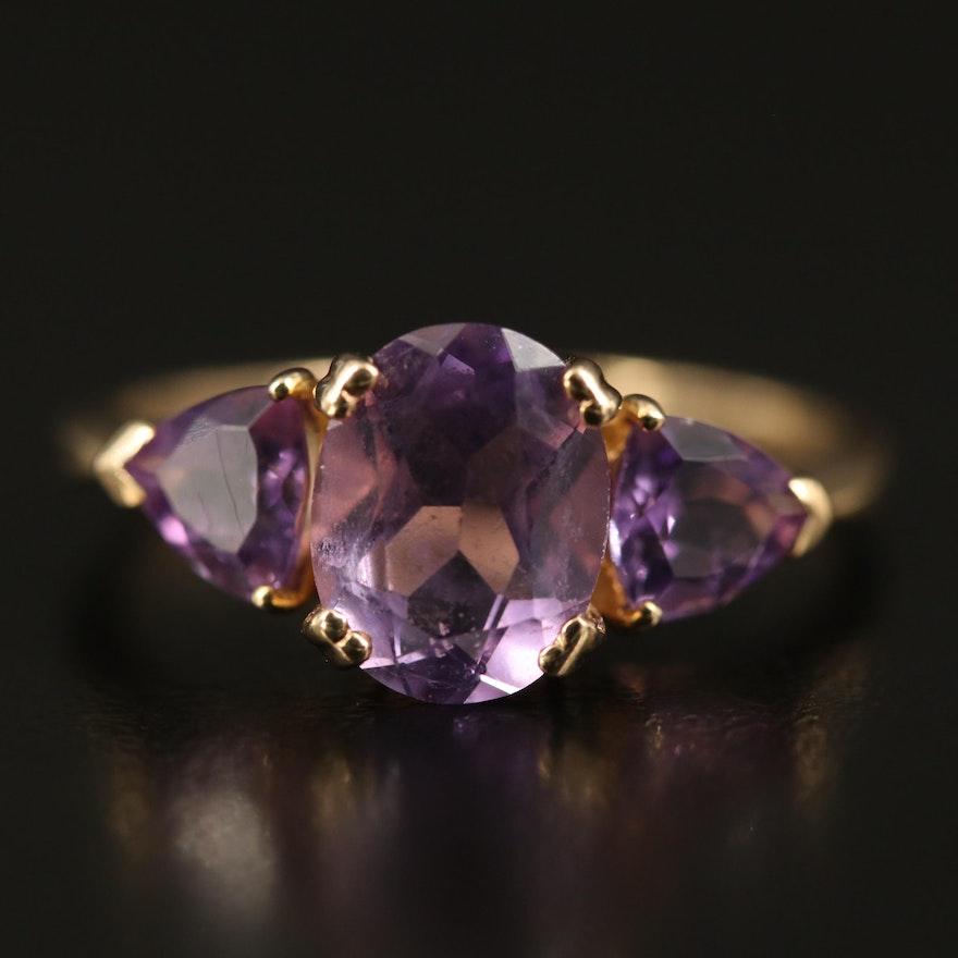 8K Amethyst Three Stone Ring