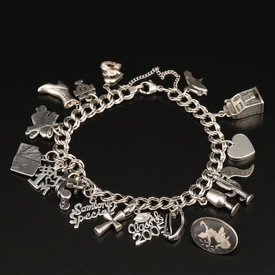 Sterling Charm Bracelet Including James Avery and 14K Charms