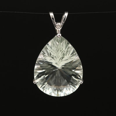 10K 15.00 CT Prasiolite and Diamond Pendant