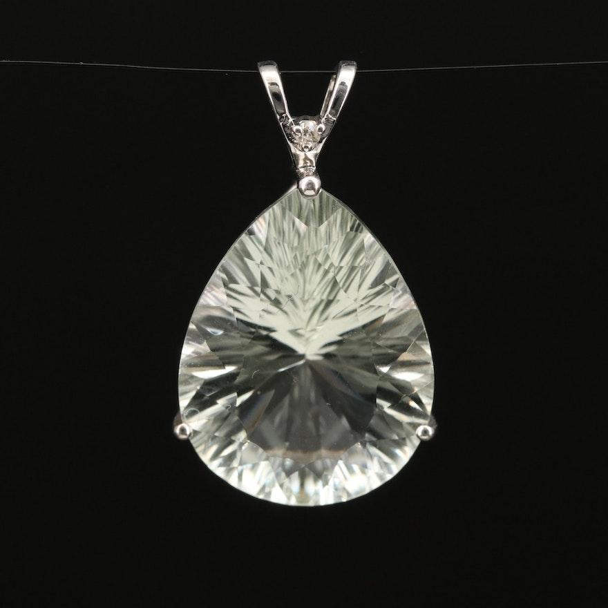 10K 15.00 CT Prasiolite and Diamond Pendant