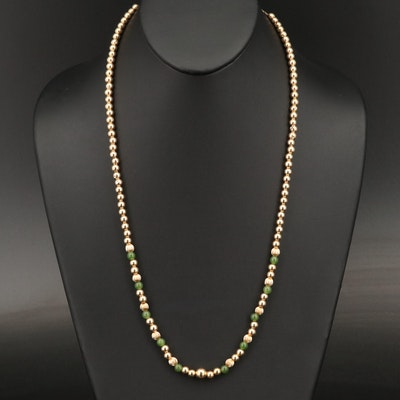14K and Serpentine Bead Necklace