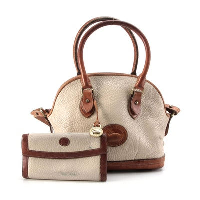 Dooney & Bourke Dome Satchel in Beige All-Weather Leather with Wallet