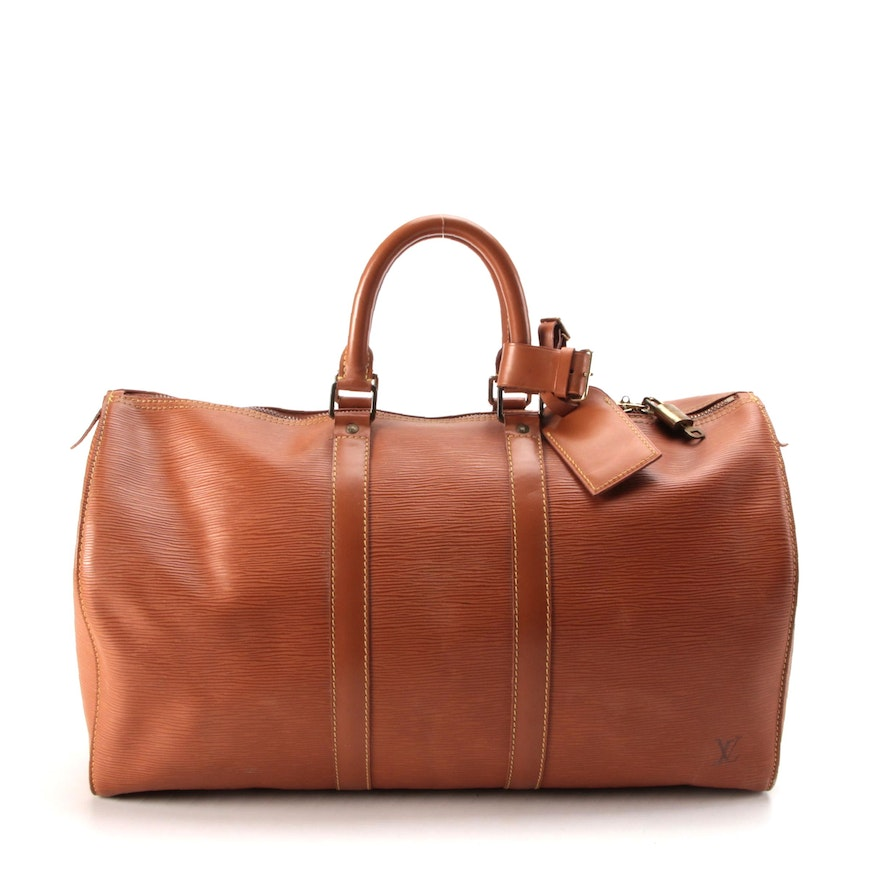 Louis Vuitton Keepall 45 Duffel Bag in Cipango Gold Epi and Smooth Leather