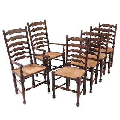 Oak Ladder Back Rush Seat Dining Chairs, Early 20th Century