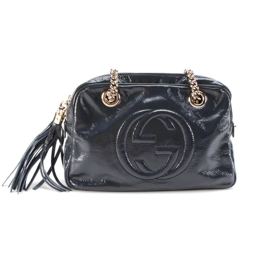 Gucci Interlocking GG Logo  in Navy Patent Leather with Tassel and Soho Chain