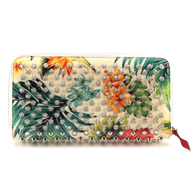 Christian Louboutin Panettone Spike Wallet in Tropical Print Leather