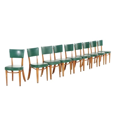 Nine Thonet New York Wood and Vinyl Upholstered Chairs, Mid to Late 20th C.