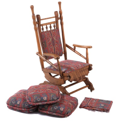 American Aesthetic Movement Maple and Ash Platform Rocker, Late 19th Century