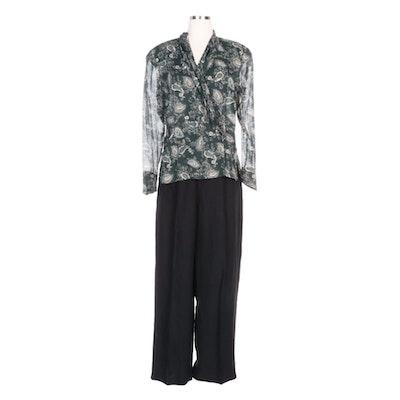 David Buchman Silk Paisley Blouse with Banana Republic Black Linen Pants