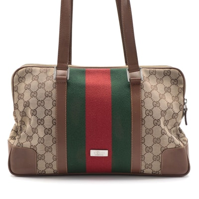 Gucci Limited Edition GG Canvas, Leather, and Web Stripe Shoulder Bag