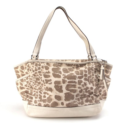 Coach Carrie Tote in Giraffe Print Canvas and Off-White Leather Trim