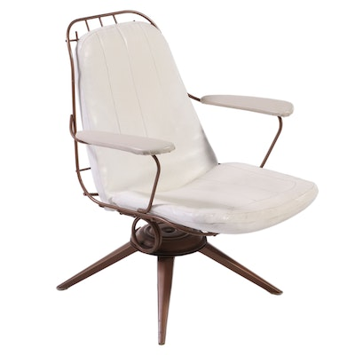 Mid Century Modern Wire and Vinyl Swivel-Rocker
