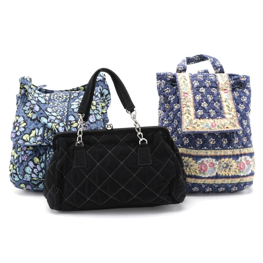 Vera Bradley Quilted Cotton Backpack, Hobo Bag and Handbag