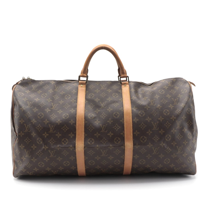 Louis Vuitton Keepall 60 in Monogram Canvas with Leather Trim