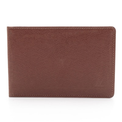 Louis Vuitton ID Card Holder Wallet in Brown Taïga Leather
