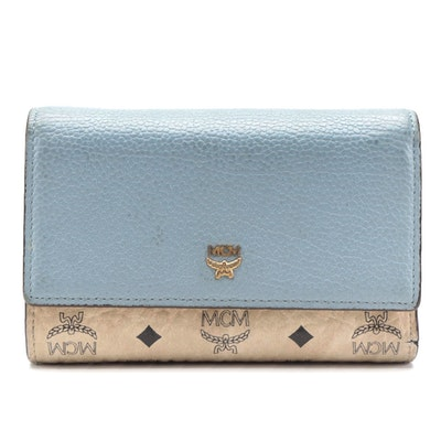 MCM Trifold Wallet in Visetos and Blue Grained Leather