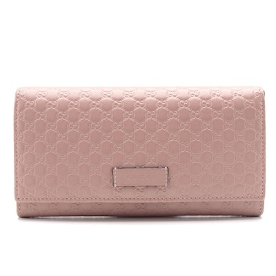 Gucci Continental Wallet in Soft Blush Pink Microguccissima Leather