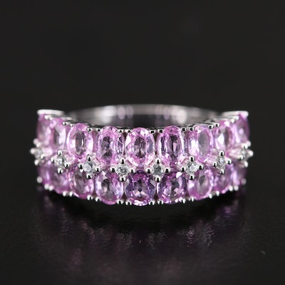 14K Pink Sapphire and White Zircon Ring