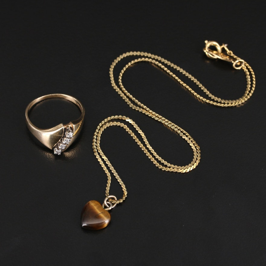 14K Diamond Ring with Tiger's Eye Pendant Necklace