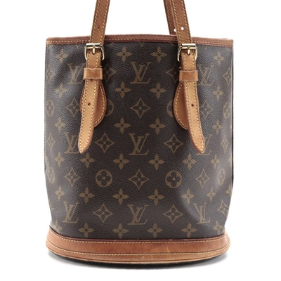 Louis Vuitton Petit Bucket Bag in Monogram Canvas and Vachetta Leather Trim