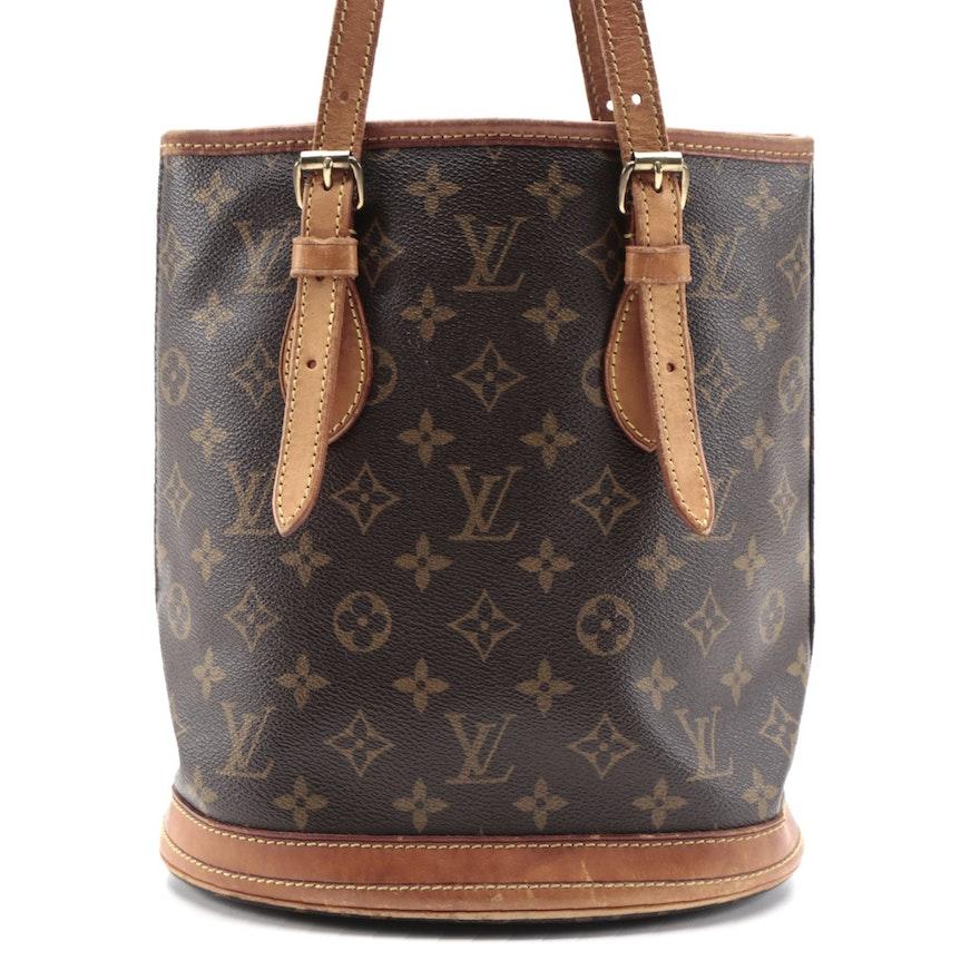 Louis Vuitton Petit Bucket Bag in Monogram Canvas and Vachetta Leather Trim