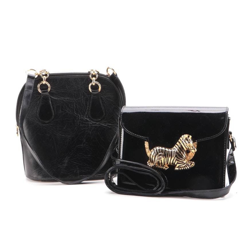 Brooks Brothers and Other Black Leather and Embellished Patent Shoulder Bags