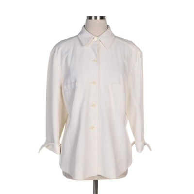 Ellen Tracy Shirt Jacket in Off-White Pique Fabric