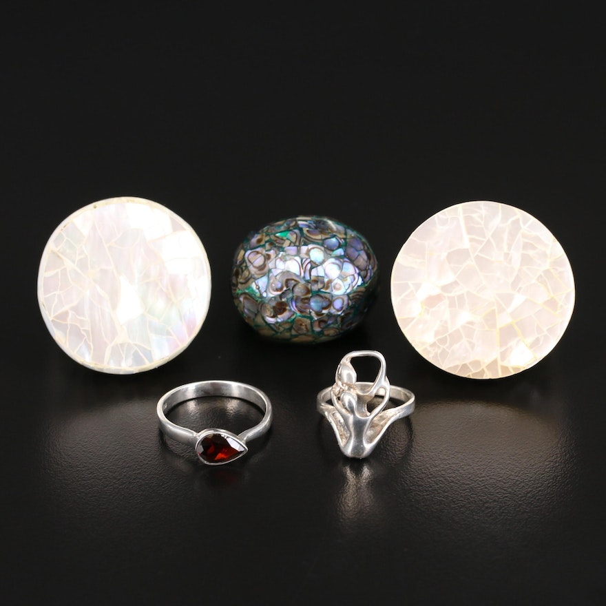 Sterling Rings Including Abalone and Mother of Pearl Mosaic