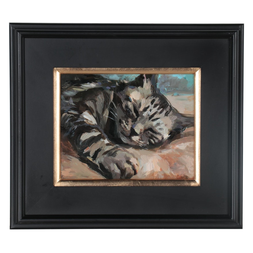 "Adam Deda Oil Painting ""Study of a Tabby Cat,"" 2021"