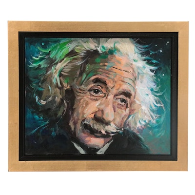 "Adam Deda Oil Painting ""Blue Einstein,"" 2021"