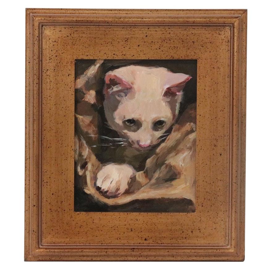 """Adam Deda Oil Painting """"White Cat,"""" 2021"""