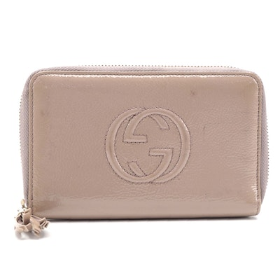 Gucci Soho Zip Around Wallet in Nude Patent Leather