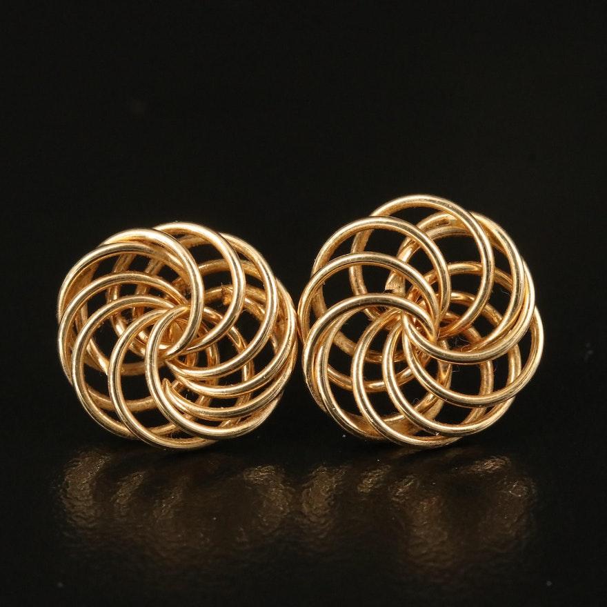 14K Spiral Knot Stud Earrings
