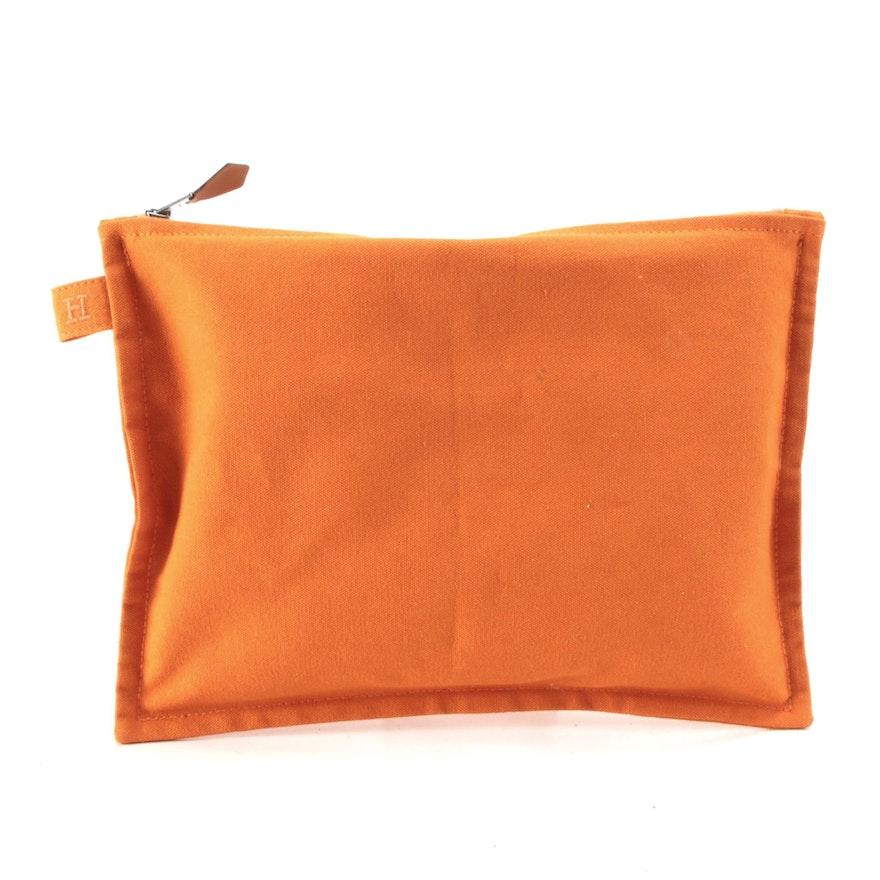 Hermès Zip Flat Pouch in Orange Cotton Canvas