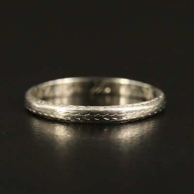 Art Deco 18K Laurel Motif Band