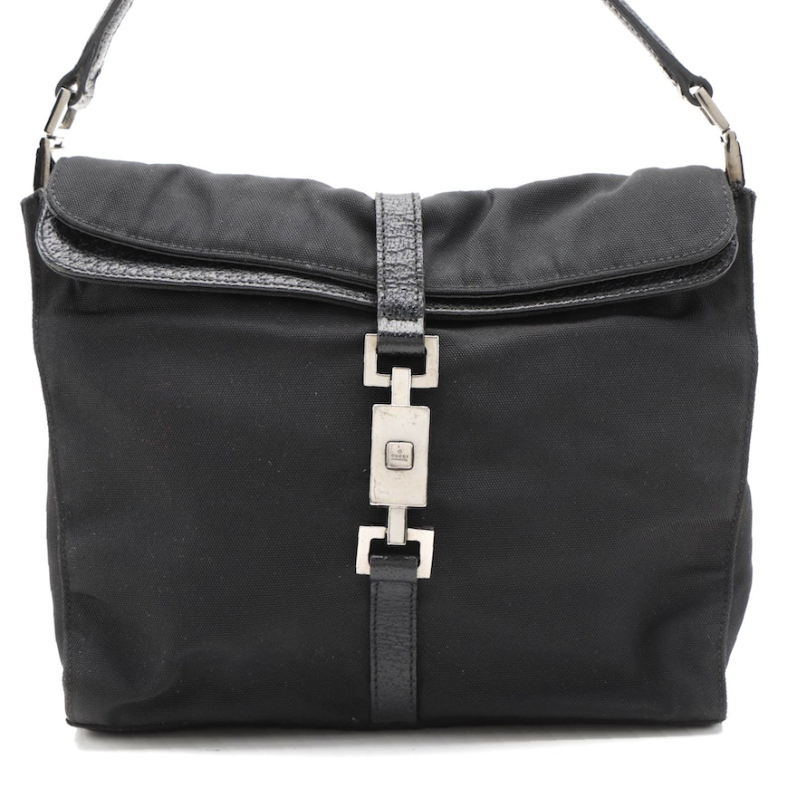 Gucci Shoulder Bag in Black Nylon with Leather Trim